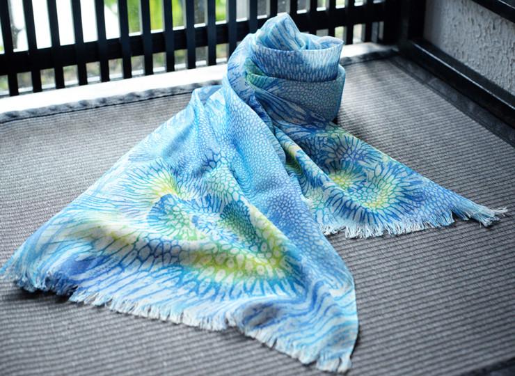 サンゴ染め オーガニックスカーフ(ブルー×グリーン)