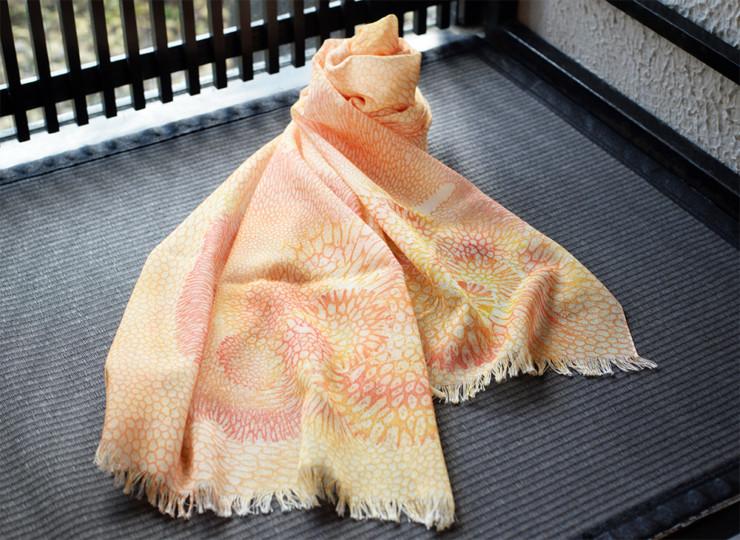 サンゴ染め オーガニックスカーフ(オレンジ)