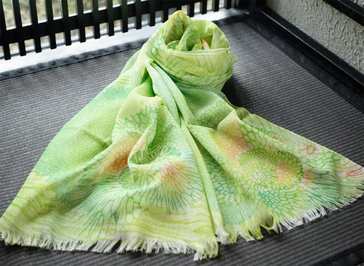 サンゴ染め オーガニックスカーフ(黄緑)