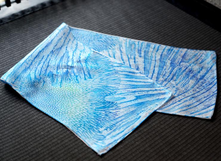 サンゴ染め スリムスカーフ(ブルー×グリーン)