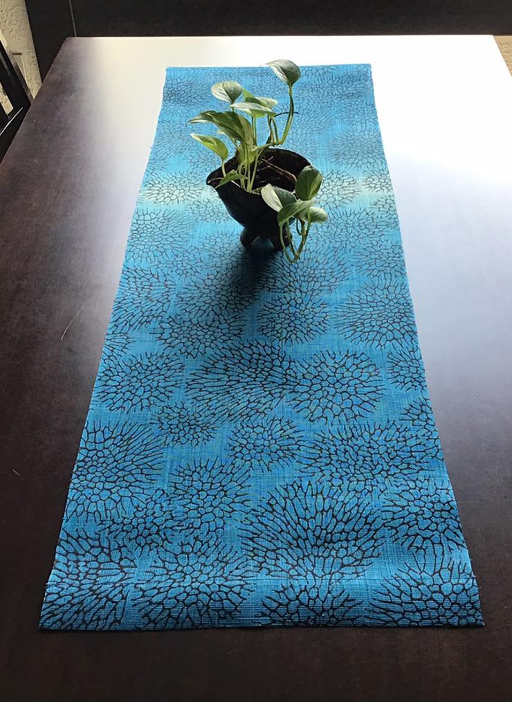 森サンゴ テーブルセンター(麻)地染(ブルー系)
