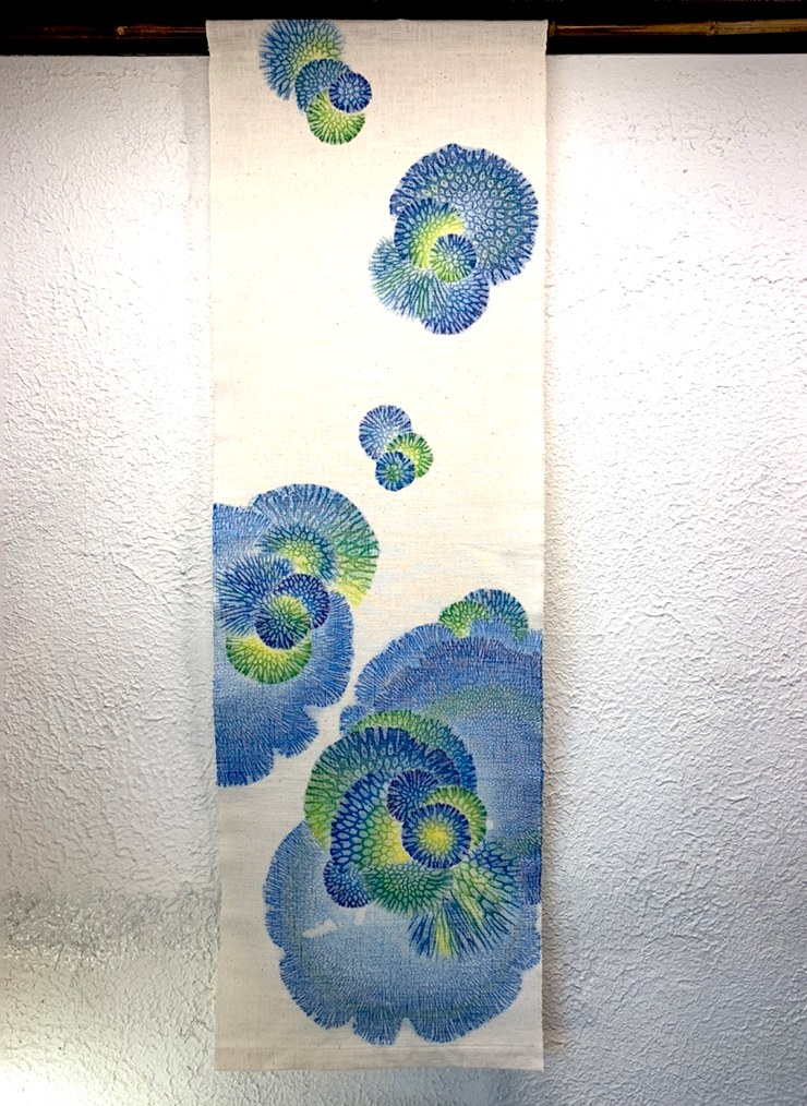 サンゴ染め 綿タペストリー(ブルー×グリーン)