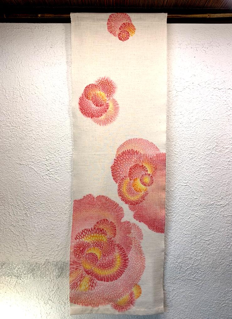 サンゴ染め 綿タペストリー(ピンク×オレンジ)