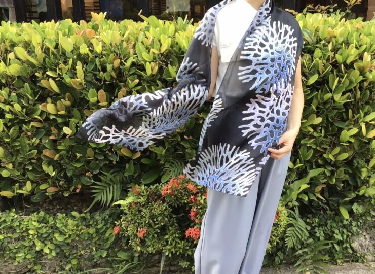 森サンゴ コーラルオーシャンスカーフ(ブラック)