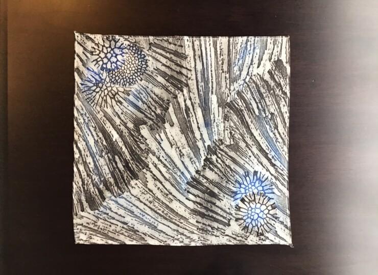 サンゴ染め ポケットチーフ(黒)