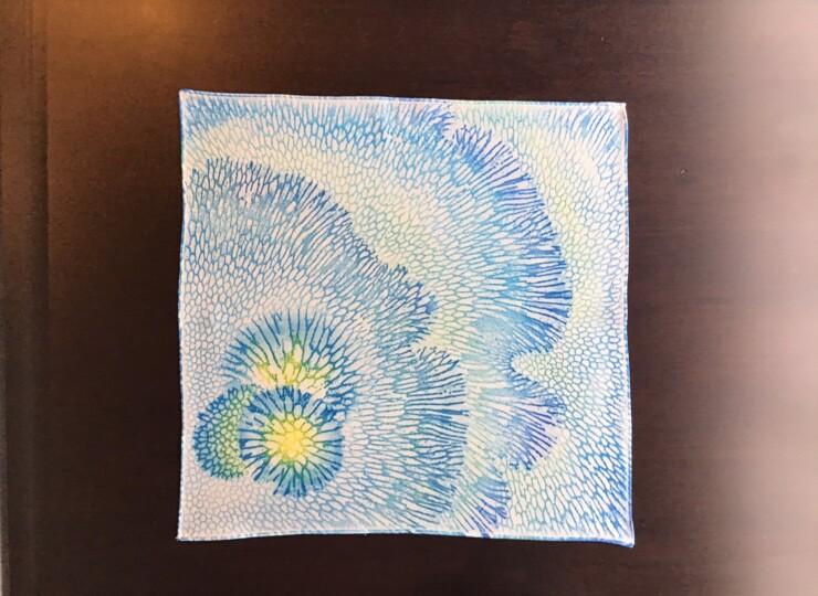 サンゴ染め ポケットチーフ(青)