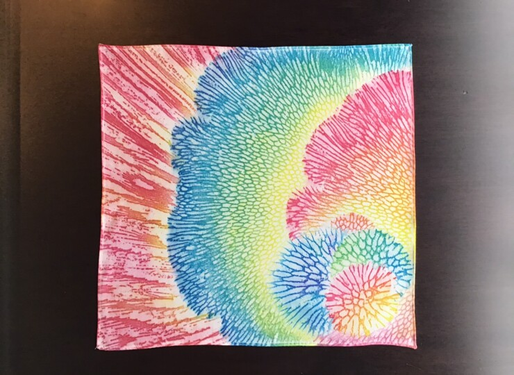 サンゴ染め ポケットチーフ(カラフル)