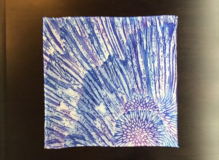 サンゴ染め ポケットチーフ(紫)