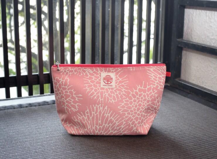 森サンゴ マチ付きポーチ(ピンク)