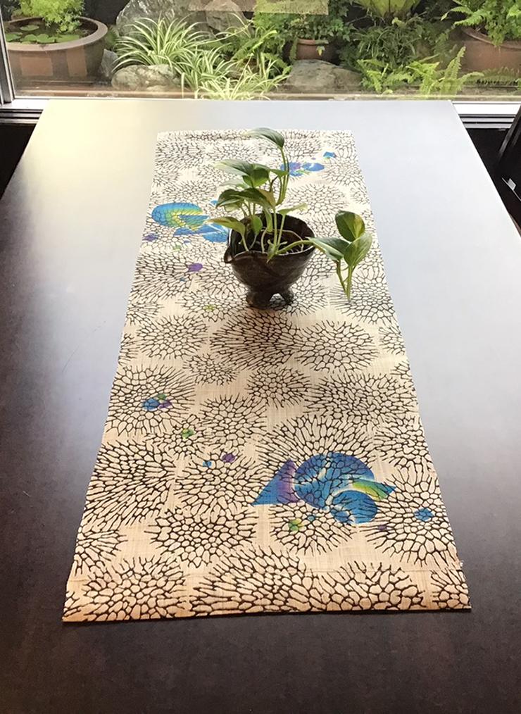 森サンゴ テーブルセンター(麻)ポイント ブルー系