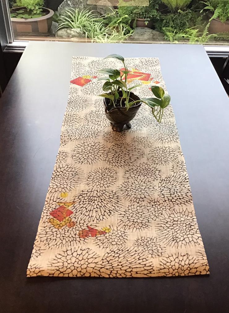 森サンゴ テーブルセンター(麻)ポイント オレンジ系
